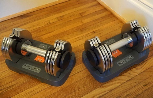 Bayou Fitness Adjustable Dumbbells On Floor