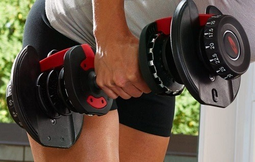 Workout With Adjustable Dumbbell